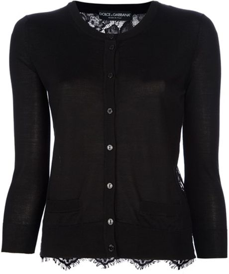 Dolce & Gabbana Lace Panel Cardigan in Black - Lyst