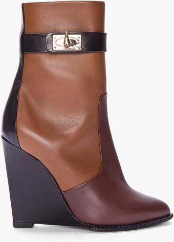 Givenchy Brown Tricolor Sharklock Wedge Boots - Lyst