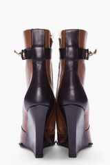 Givenchy Brown Tricolor Sharklock Wedge Boots in Brown - Lyst