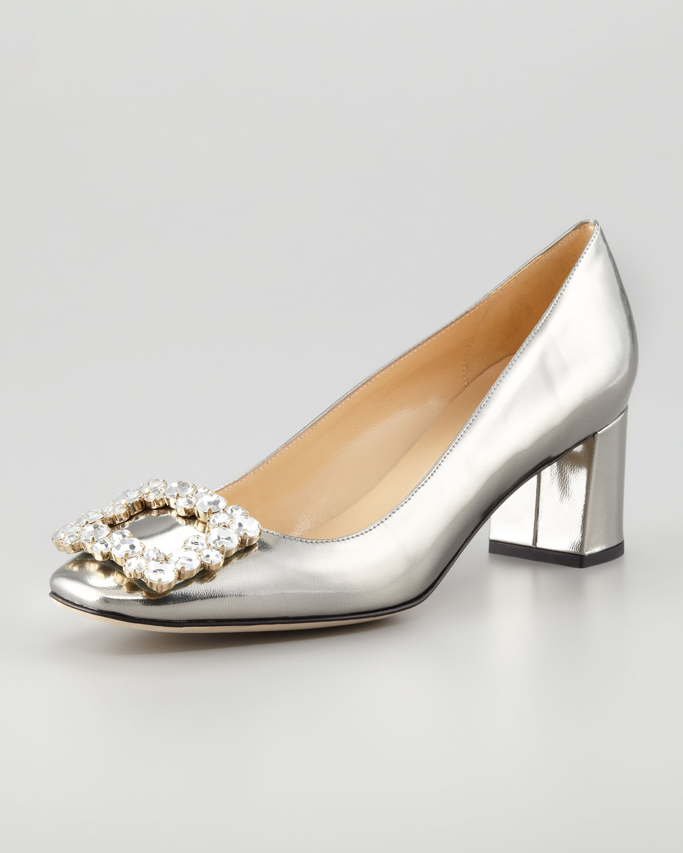 34d52114e437 Lyst - Kate Spade Dandy Specchio Low-heel Pump Pewter in Metallic