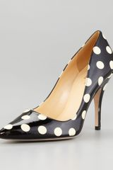 Kate Spade Licorice Polkadot Patent Leather Pump - Lyst