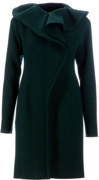 Lanvin Frill Detailed Dress in Green - Lyst
