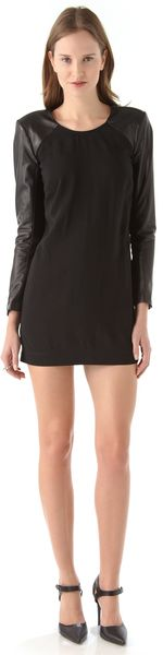 Mason by Michelle Mason Leather Sleeve Shift Dress - Lyst