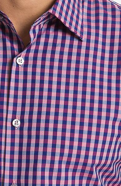 Paul Smith Check Dress Shirt In Purple For Men Pink Lyst