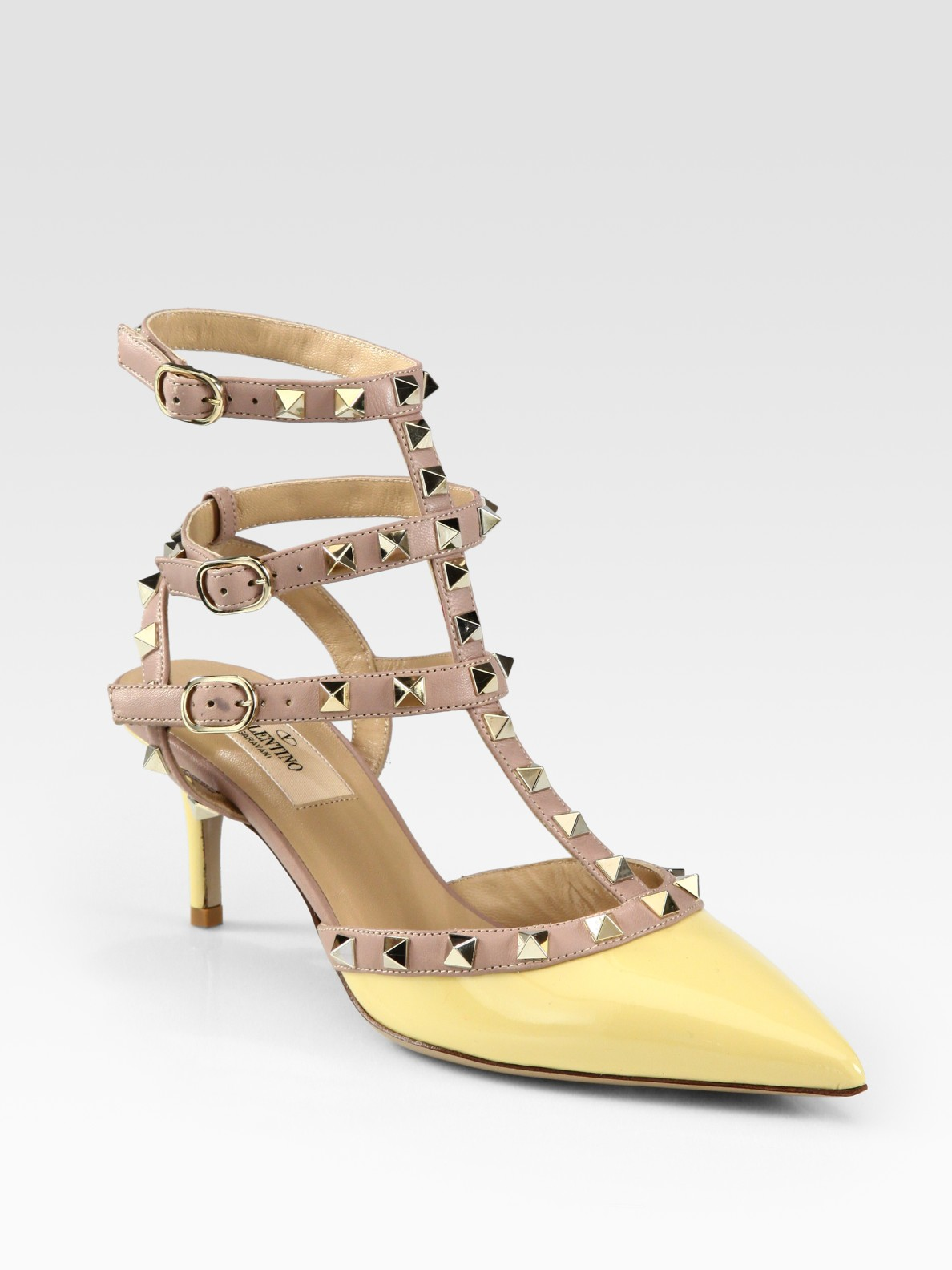 Valentino Rockstud Patent Leather Leather Pumps in Yellow | Lyst
