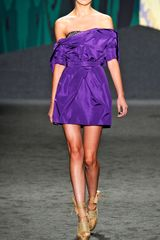 Vera Wang Ss Silk Faille Strapless Dress in Purple (amethyst) - Lyst