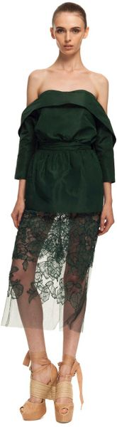 Vera Wang Ss Silk Faille Offtheshoulder Top in Green (cypress green) - Lyst