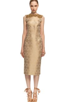Vera Wang Ss Ethnic Brocade Corseted Sheath Dress - Lyst