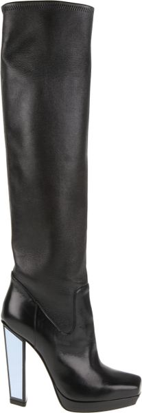 Yves Saint Laurent Smooth Leather Boots with Angled Square Toe and Mirror Accents At Pyramid Heel in Black - Lyst