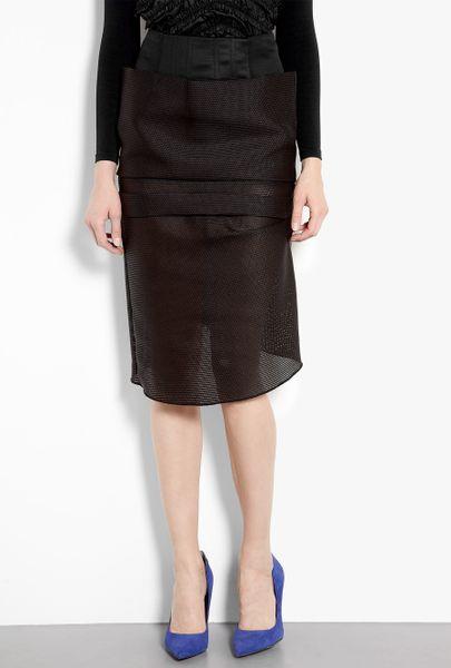 acne studios high waisted sculpted net pencil skirt in
