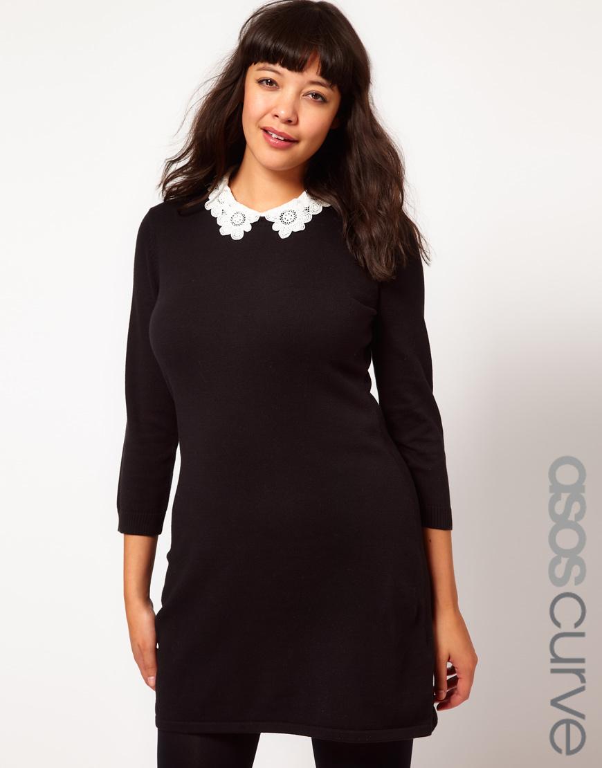 Asos black collared dress