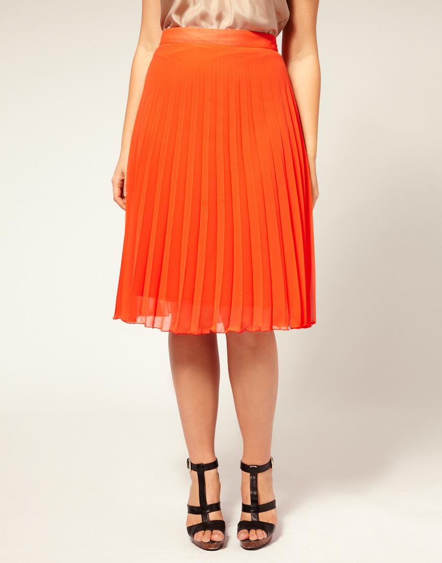 Orange Pleated Skirt - Skirts
