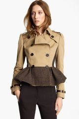 Burberry Prorsum Plaid Peplum Crop Jacket in Beige (camel) - Lyst