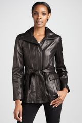 Cole Haan Leather Belted Jacket - Lyst