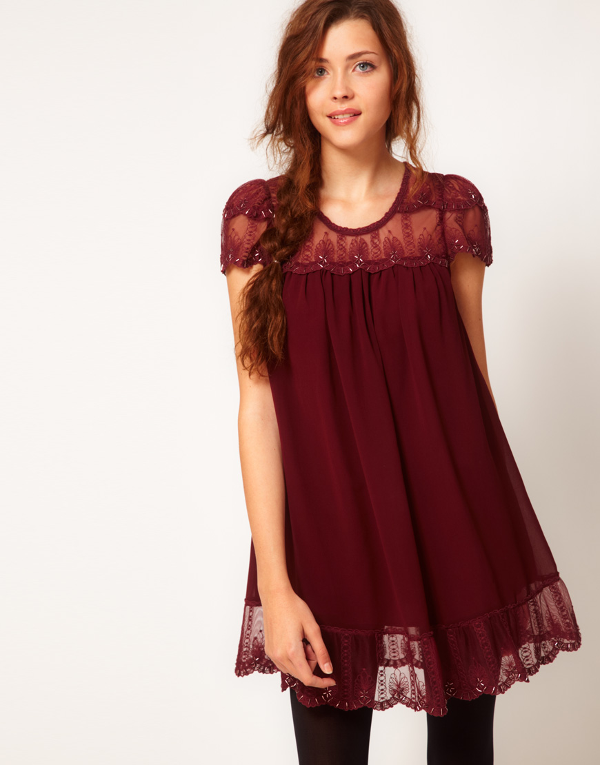 Darling Embellished Scallop Lace Babydoll Dress Red