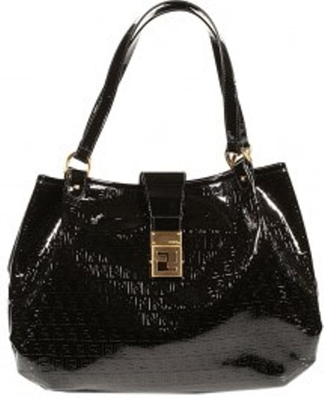Fendi Forever Zucchino Ecopatent Leather Large Shoulder in Black - Lyst