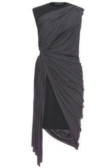 Lanvin Neoprene Dress with Jersey Draping - Lyst