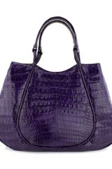 Nancy Gonzalez Purple Croc Rounded Frame Handbag