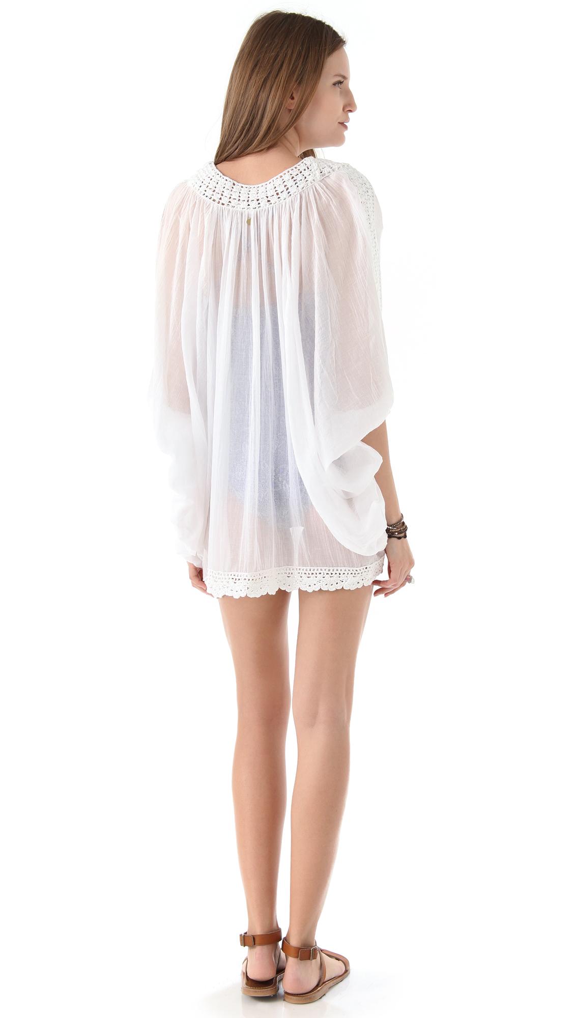 c40d7ad709bd Lyst - Ondademar Crochet Cover Up Dress in White