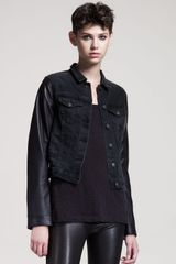 Rag & Bone Rock Leathertrim Jean Jacket - Lyst