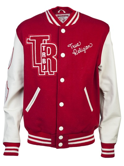 True Religion Letterman Varsity Jacket In Red For Men Lyst
