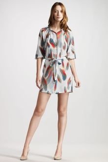 Tucker Feather-Print Silk Dress - Lyst