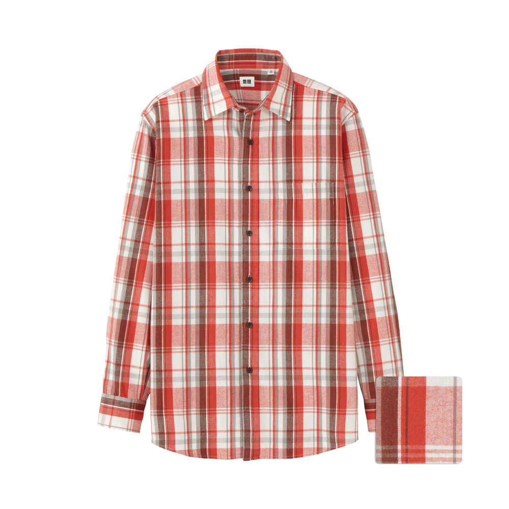 Uniqlo Men Flannel Check Long Sleeve Shirt Bu In Orange