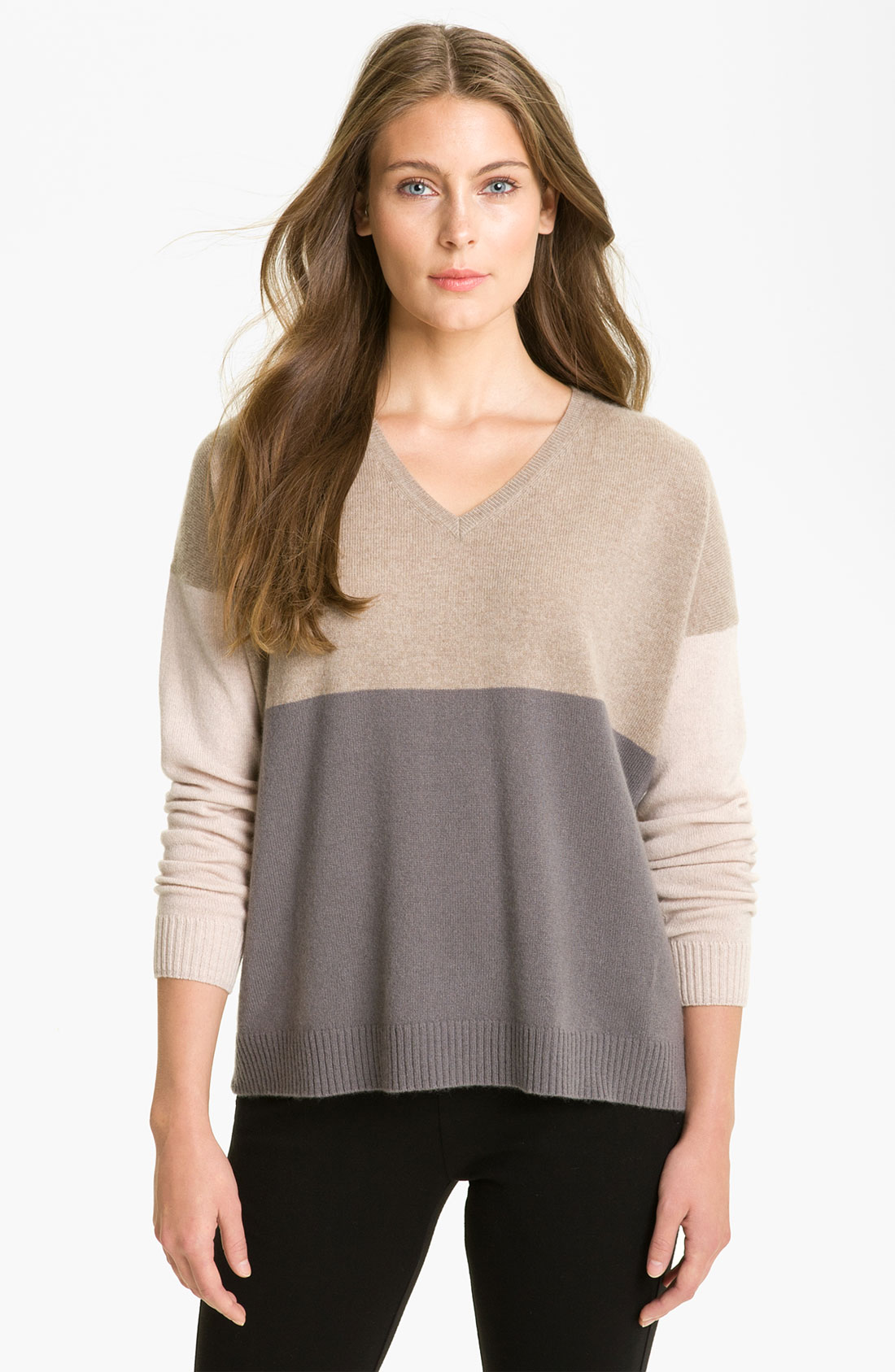 White + Warren Easy V Colorblock Cashmere Sweater in Brown ...