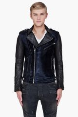 Balmain Midnight Blue Calfhair Padded Biker Jacket - Lyst