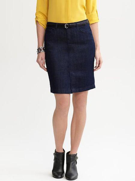banana republic five pocket denim pencil skirt in blue