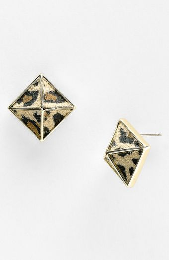 Belle Noel Leopard Print Suede Pyramid Stud Earrings - Lyst