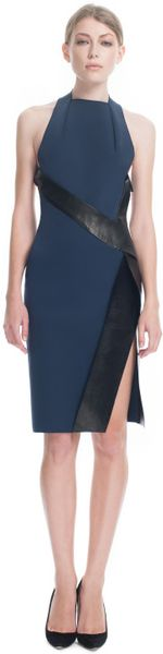 Dion Lee Ss Harness Wrap Dress in Blue (ink/black) - Lyst