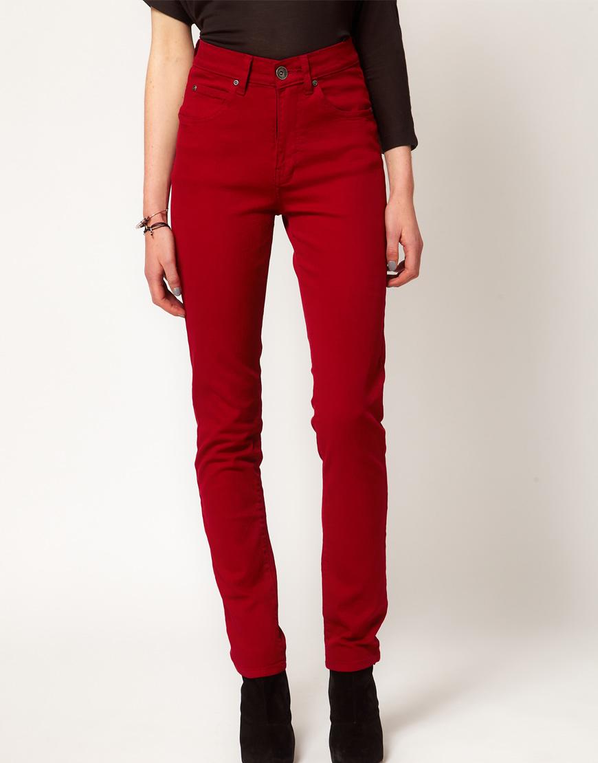 Dr. denim Arlene High Waist Skinny Jeans in Red | Lyst