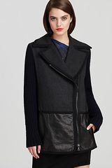 Edun Coat Leather Trim with Knit Sleeves - Lyst