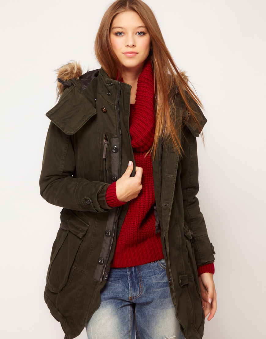 g star raw gstar parka with faux fur trimmed hood in green. Black Bedroom Furniture Sets. Home Design Ideas