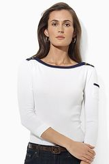Ralph Lauren Mickie Three Quarter Sleeve Boatneck Top - Lyst