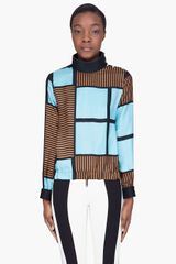 Marni Teal Silk Band Collar Blouse - Lyst
