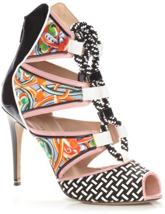 Peter Pilotto Ss Beaded Rope Pink Printed Bootie - Lyst