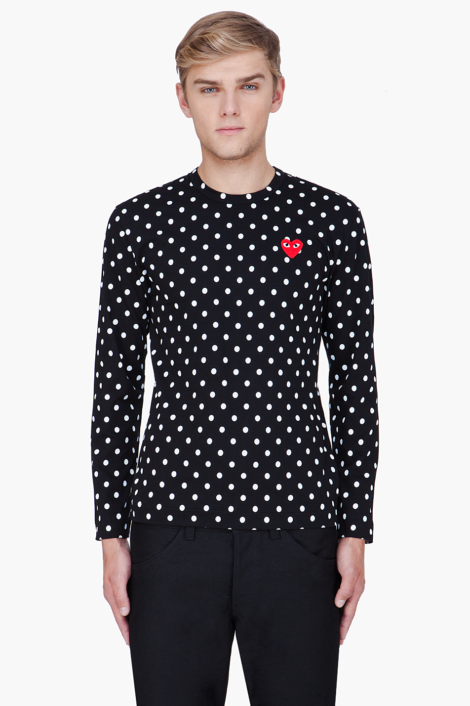 play comme des gar ons black polka dot print jersey shirt. Black Bedroom Furniture Sets. Home Design Ideas