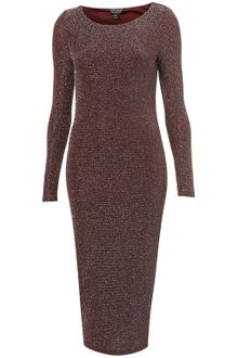 Topshop Lurex Midi Bodycon Dress - Lyst