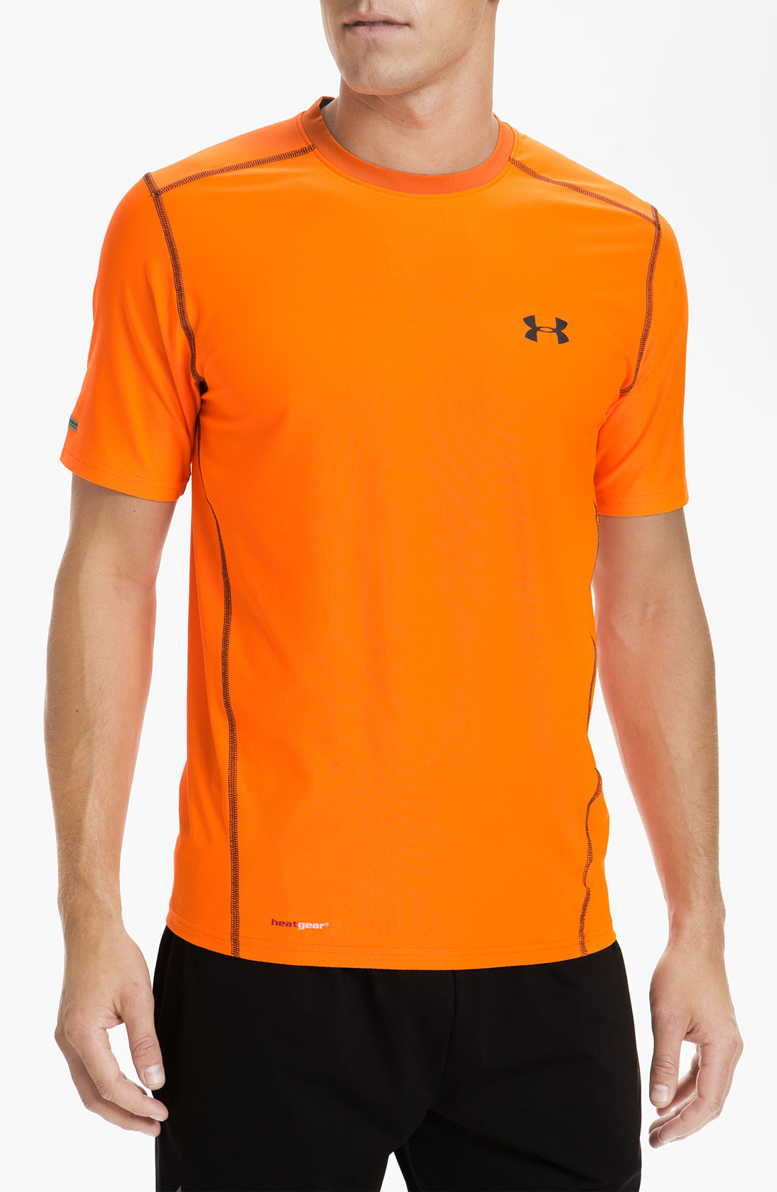under armour ua tech heatgear fitted tshirt in orange for