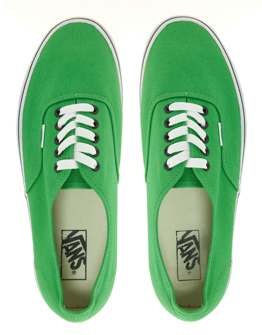 9bc7b3212f Lyst - Vans Authentic Classic Green Black Lace Up Trainers in Green