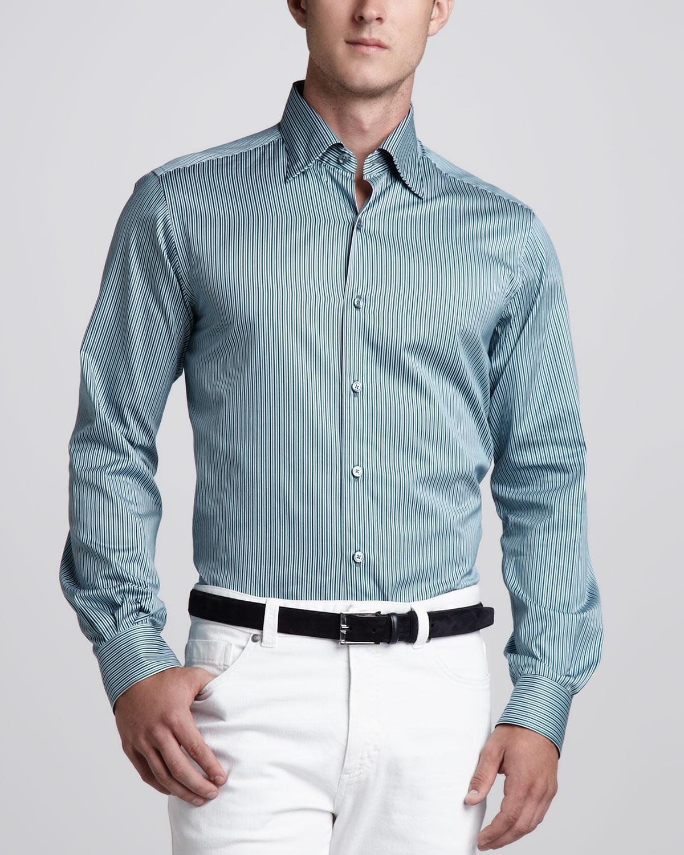ermenegildo zegna striped sport shirt in blue for men lyst. Black Bedroom Furniture Sets. Home Design Ideas