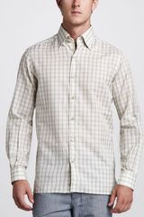 Ermenegildo Zegna Check Cotton Linen Shirt - Lyst