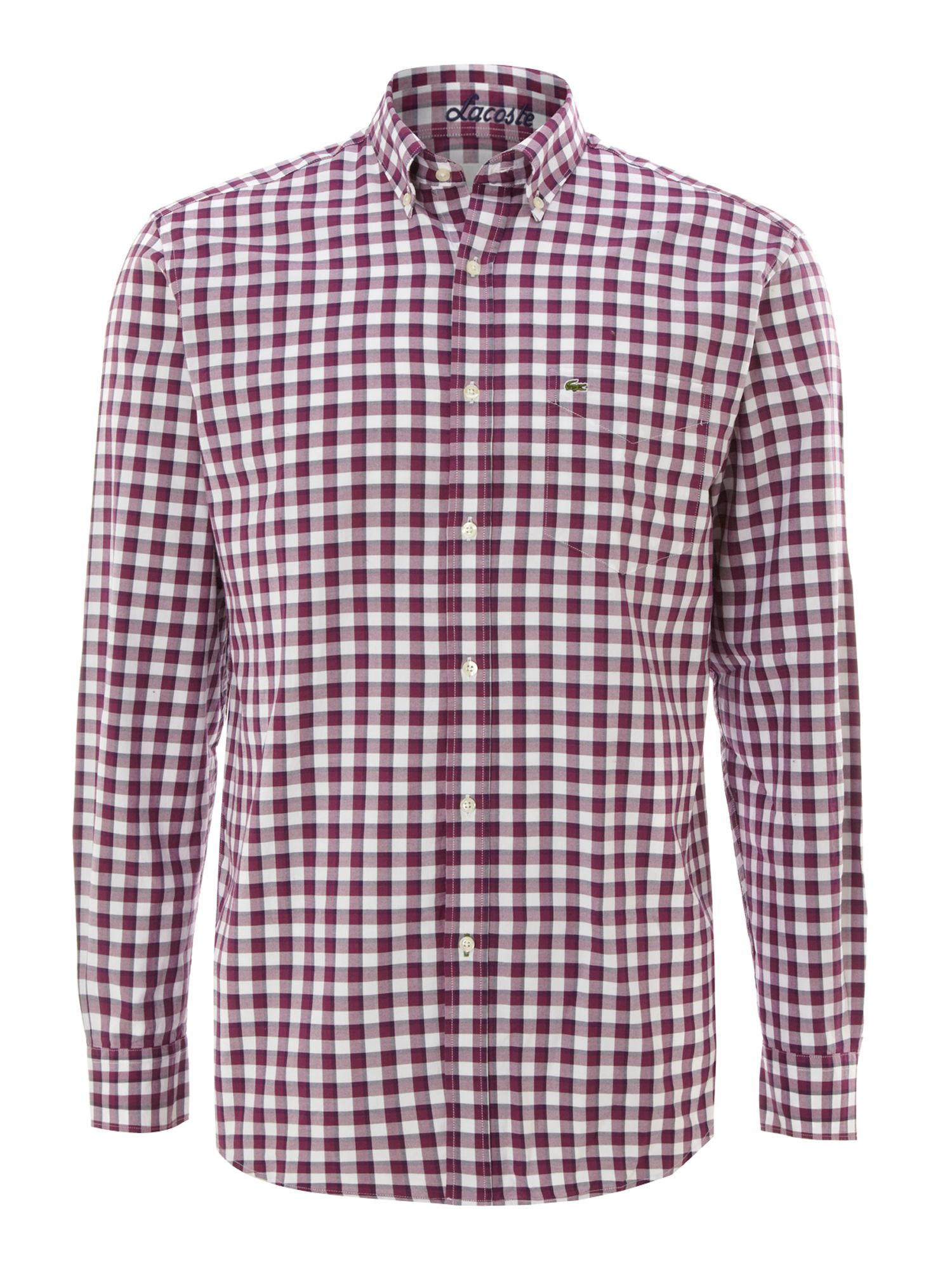 Lacoste Long Sleeved Gingham Shirt In Purple For Men Pink