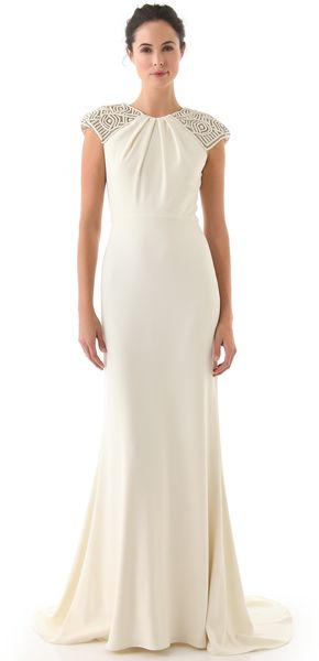 Badgley Mischka Collection Deco Cap Sleeve Gown - Lyst