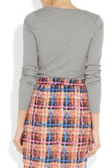 J.crew Cottonjersey Top in Gray - Lyst
