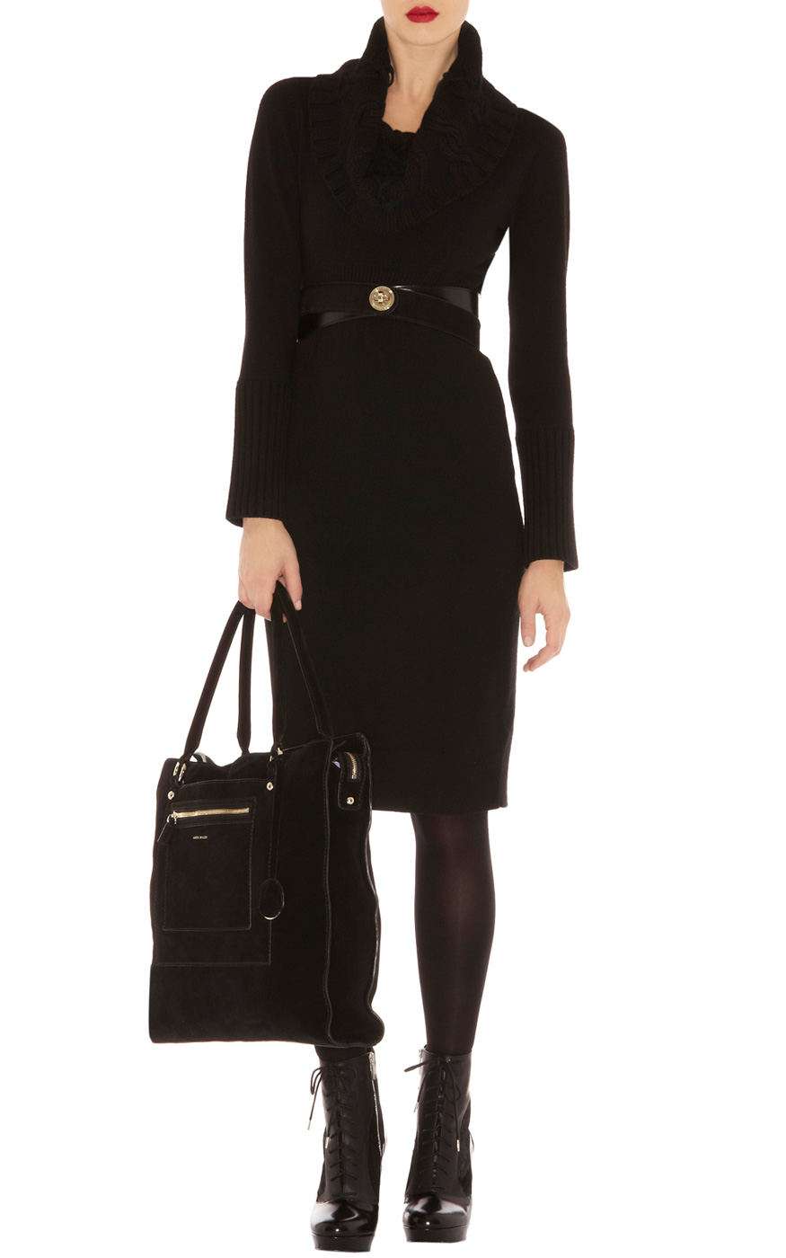 Karen Millen Twisted Cable Knit Dress In Black Lyst