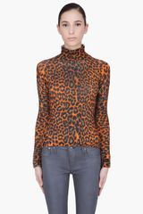 Christopher Kane Orange Chunky Leopard Print Turtleneck - Lyst