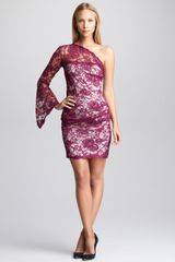 Emilio Pucci One-shoulder Lace-overlay Dress Lotus - Lyst